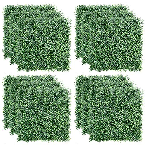"TOPNEW 12PCS Artificial Boxwood Topiary Hedge Plant UV Protection Indoor Outdoor Privacy Fence Home Decor Backyard Garden Decoration Greenery Walls 20"" X 20"""