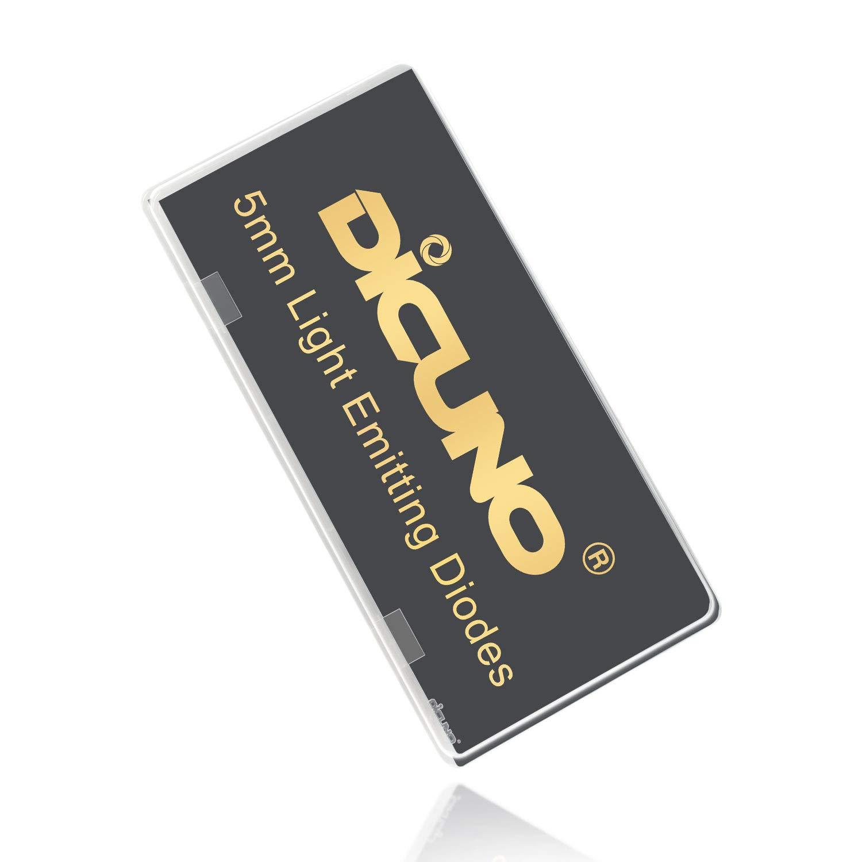 DiCUNO 100pc 5mm LED Diode /électroluminescente T/ête ronde T/ête de lampe LED Assortiment de r/ésistances Diodes