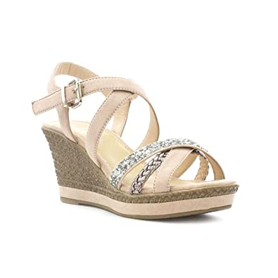 36fa5ec47 Lilley Womens Nude Cross Strap Wedge Sandal  Amazon.co.uk  Shoes   Bags