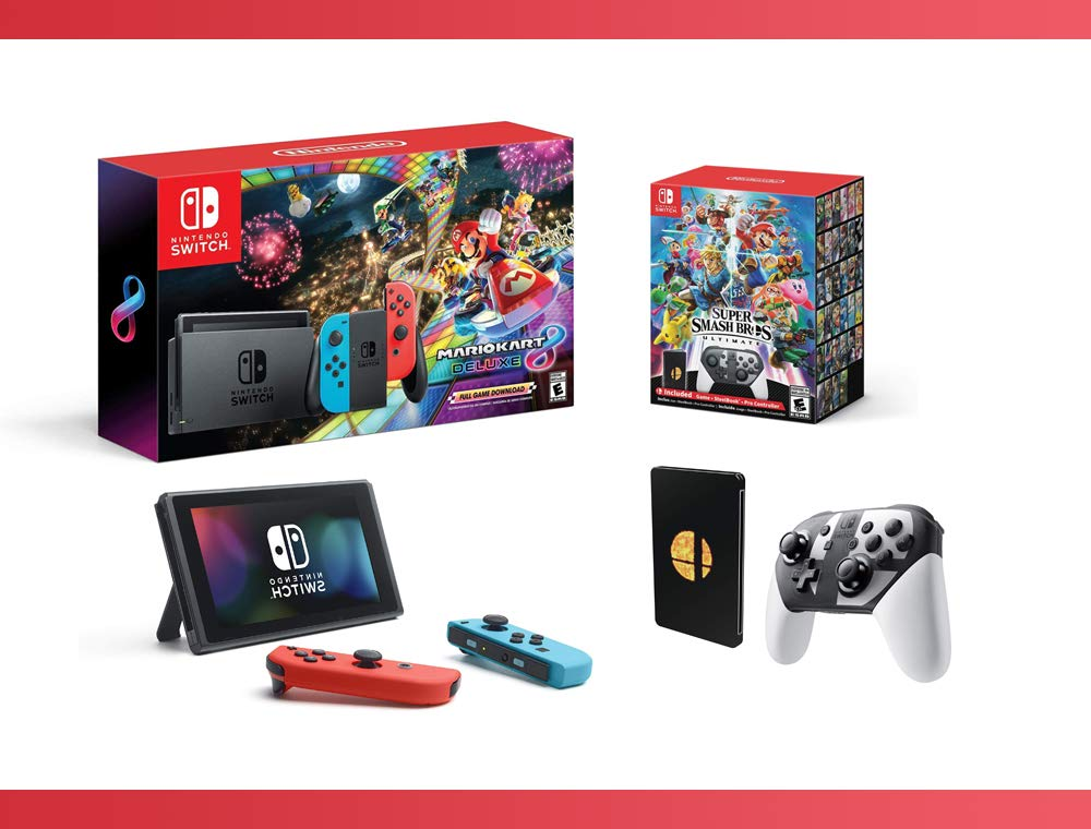 2018 NEW : Nintendo Switch w/ Mario Kart 8 Deluxe Console + Super Smash Bros. Ultimate Special Edition – Nintendo Switch Bundle ( 2 – Items )
