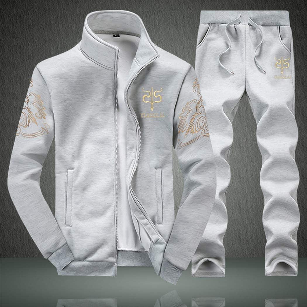 Mens 2 Piece Outfits Casual Long Sleeve Full-Zip Jacket Coat/& Pants Jumpsuit Set