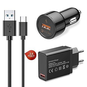 Cocoda Quick Charge 3.0 Cargador de Pared USB + Cargador de Coche + Cable Tipo C, Cargador USB C para Samsung Galaxy S10 Plus/S10e/S10/S9/S9 ...