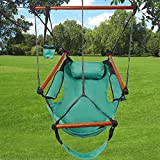 Kuyal Hanging Hammock Chair Deluxe Swing Outdoor Chair W/Pillow and Drink Holder for Backyard, Bedroom, Porch, Outdoor Camping Well-equipped S-shaped Hook (Green)