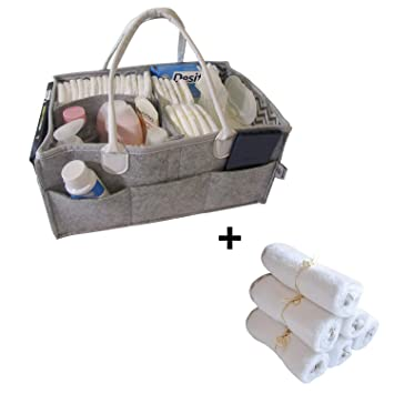 Diaper Caddy + 6 Organic Bamboo Washcloths, Baby Caddy, Diaper Caddy Storage, Portable