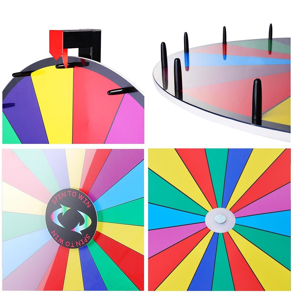 Winspin 18 Segment 30 Inches Tabletop Colorful Spin Prize Wheel For