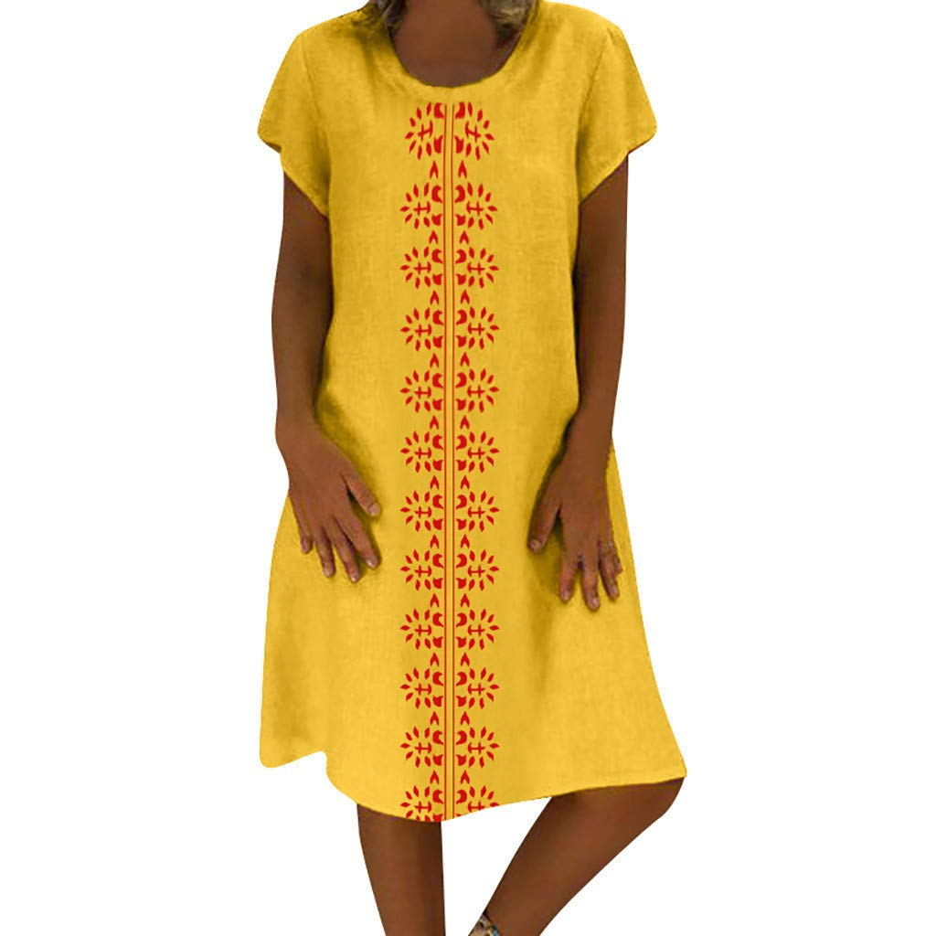 Opinionated Womens Summer Retro Solid Color Loose Bohemian Shirt Casual Cotton Round Neck Short Sleeve Dress