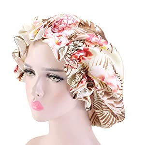 Satin Sleeping Cap (Double Layer,Adjustable,Floral,Extra Large) for Natural,Curly and Wave Hair Jumbo Bonnet -Coffee