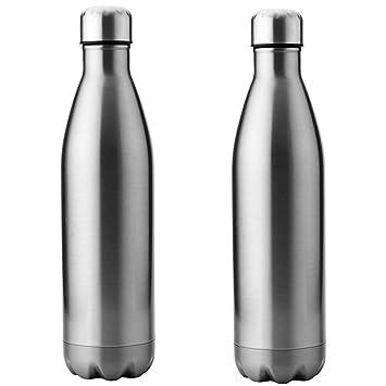 Acero inoxidable Botella de agua 750 ml, plata: Amazon.es ...
