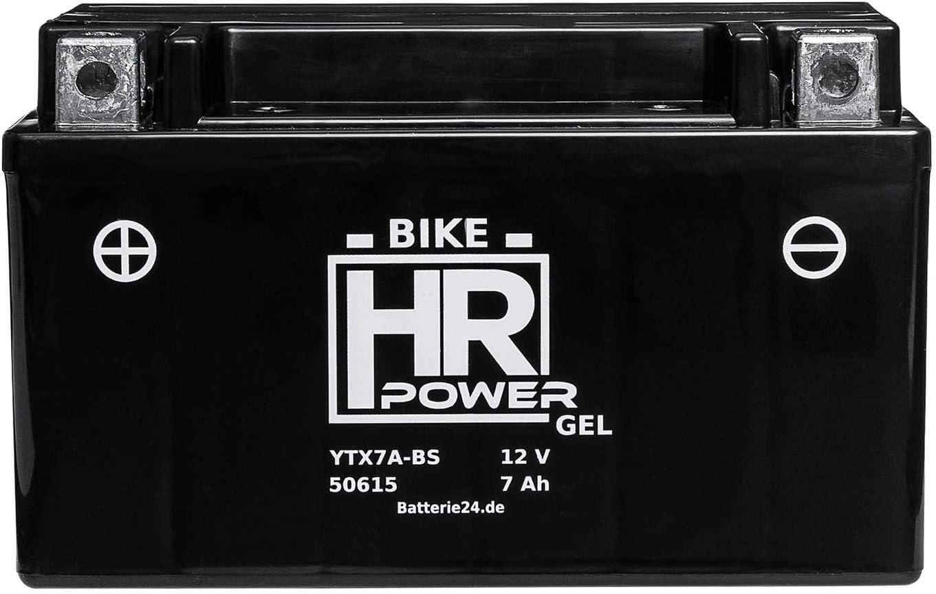HR Bike Power GEL Motorradbatterie YTX7A-BS 50615 12V 7Ah