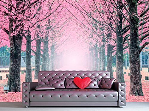 Large Wall Mural Lane of Pink Fallen Leaves with Trees by Each Side Vinyl Wallpaper Removable Wall Decor