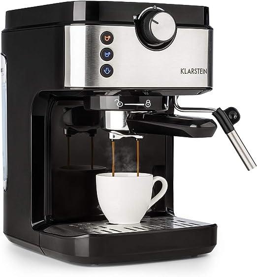 Klarstein BellaVita Espresso - Máquina de espresso, 1575 vatios, 20 bar, FullPressure, Capacidad de 900ml, One Touch Control, Boquilla de vapor móvil, Acero inoxidable, Negro/plateado: Amazon.es: Hogar