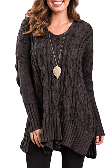 fb1d166dee2 Spadehill Womens Long Sleeve Cable Knit Winter V Neck Sweater