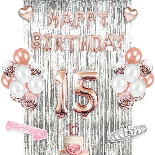 15 Anos Party Decorations (15th Birthday Supplies Set, 15th Birthday Decorations - Perfect for quinceañera decorations & Sweet Fifteen, includes 15th Birthday Tiara Sash Cake Topper & Crown- Decoracion para quinceañera)