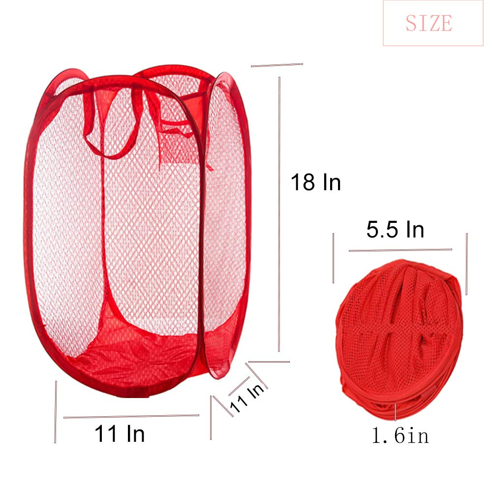 Kids Room College Dormitory and Travel Qtopun Mesh Popup Laundry Hamper Foldable 2 Pack Laundry Basket Portable Dirty Clothes Basket Collapsible Dirty Clothes Hamper for Bedroom
