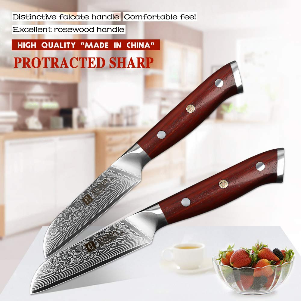 XINZUO 3.5 Inch Paring Knife 67 Layer Damascus Steel Kitchen Petty Knife Very Sharp Peeling Knife Fashion Professional Chef's Table Knife Cutlery Fruit Cutter with Rosewood Handle - Yu Series by XINZUO (Image #2)