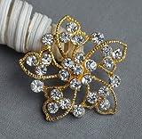 5 Rhinestone Button Embellishment Gold Pearl Crystal Wedding Brooch Bouquet Invitation Cake Decoration Hair Comb Clip BT533