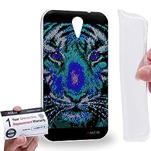 Case88 [HTC Desire 620] Gel TPU Carcasa/Funda & Tarjeta de garantía - Art Aztec Design Blue Tiger Animal Faces Art1284