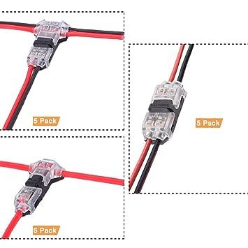 Kit de conectores de alambre - Paquete de 15 conectores de alambre sin soldadura de bajo voltaje ...