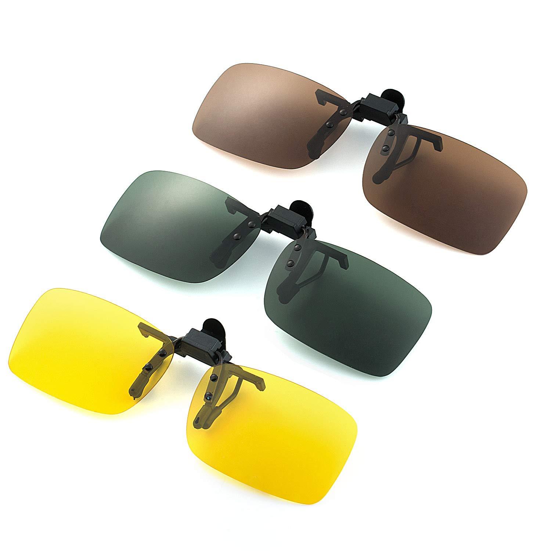 Protezione al 100/% Contro i Dannosi Raggi UVA//UVB ELIVWR 2 Pezzi Occhiali da Sole Polarizzati Clip-on Antiriflesso per Guida//Pesca//Sport