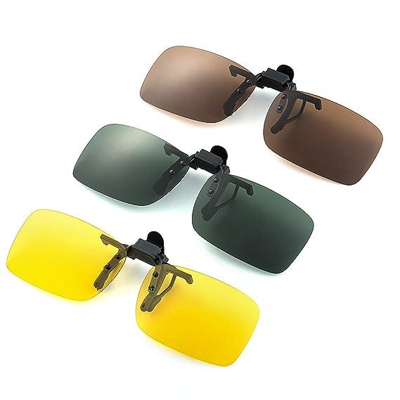 Joeyer 3 Piezas Gafas de Sol con Clip Polarizadas UV400 para Conducción y al Aire Libre (Amarillo Visión Nocturna + Marrón Oscuro + Verde Oscuro)