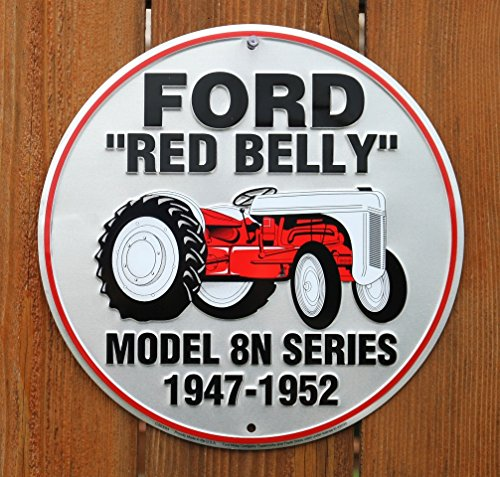 Belly Tractor - Ford Red Belly Model 8N Red Tractor Retro Vintage Round Sign