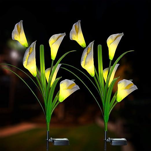 Iluminación exterior solar para jardín, lámpara solar de jardín con LED Calla-Lilie, luces solares, luces decorativas para el jardín, césped, terraza, campo, camino, 2 unidades: Amazon.es: Iluminación