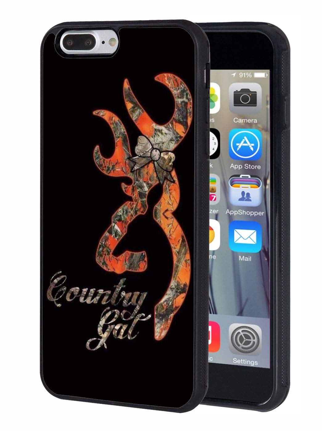 iPhone 7 Plus Case,iPhone 8 Plus Case,Browning Deer Camo Country Girl  Design Slim Anti-Scratch TPU Rubber Protective Case Cover for Apple iPhone  7