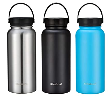 858ea84082 SIXAQUAE Camping Wide Mouth Thermos 32 oz Double Wall Vacuum Insulated  Stainless Steel Water Bottle,