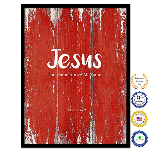 Jesus The Name Above All Names Philippians 2:9 Bible Verse Scripture Quote Canvas Print Picture Frame Home Decor Wall Art Gift Ideas 13