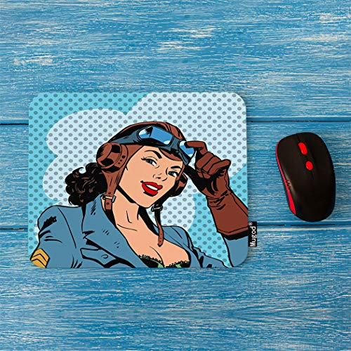 Mugod Pilot Mouse Pad Pin Up Girl Pilot Aviation Army Beauty Pop Art Retro Comic Vintage Decor Gaming Mouse Pad Rectangle Non-Slip Rubber Mousepad for Computers Laptop 7.9x9.5 Inches
