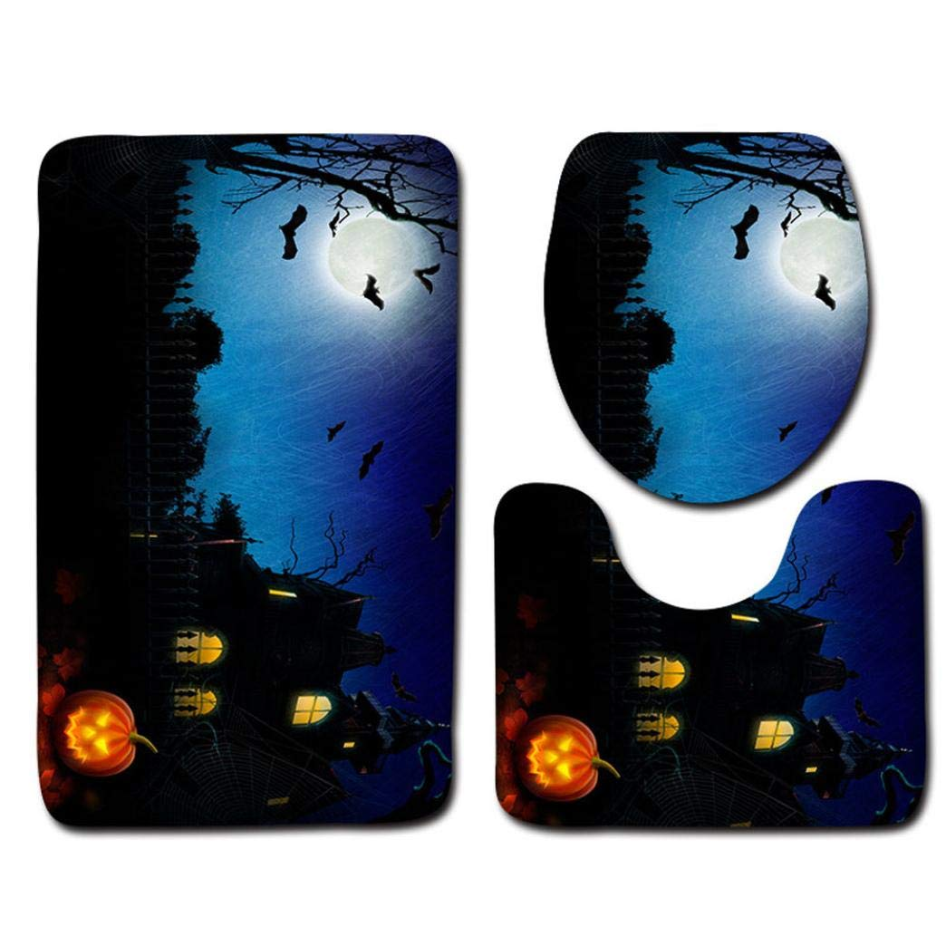 Halloween Pumpkin Monster Witch Black Cat Toilet Seat Cover and Rug Bathroom Mats Set Halloween Decor (C)