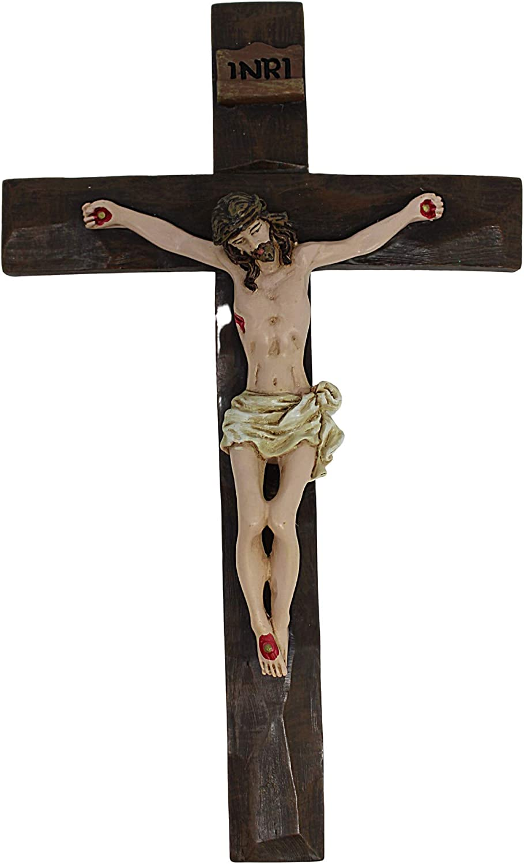 Natural Wood Like Crucifix 8 Inch Resin Decorative Hanging Wall Cross