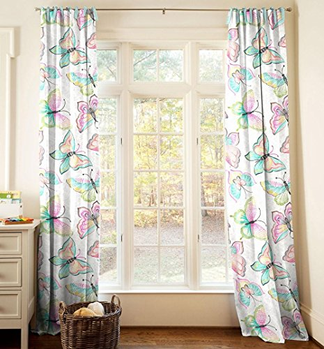 Carousel Designs Bright Damask Butterflies Drape Panel 96-Inch Length Standard Lining 42-Inch Width by Carousel Designs