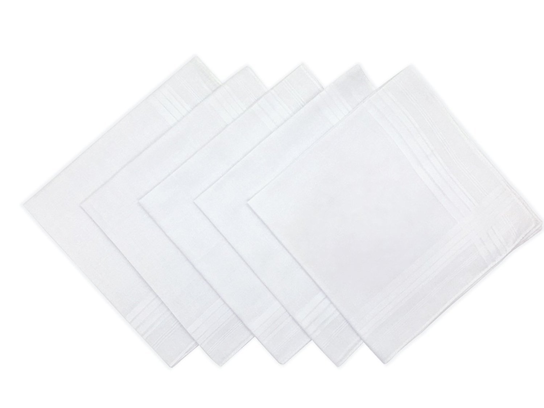 UQ Men's Solid White Cotton Handkerchiefs Pack