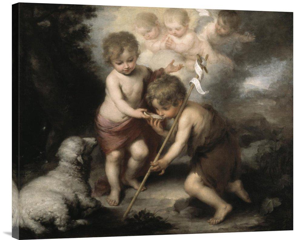 Global Gallery GCS-278805-30-142 ''Bartolome Esteban Murillo Jesus & John The Baptist: Children W/ Shell'' Gallery Wrap Giclee on Canvas Wall Art Print