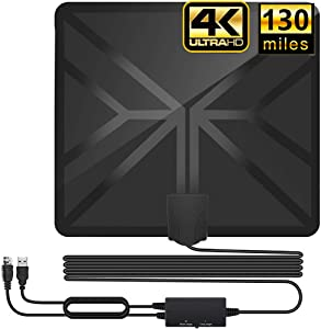 HDTV Antenna,130+ Miles Long Range Indoor Digital TV Antennas with 2020 Newest Switch Amplifier Signal Booster for Local Free Channels 4k HD 1080P 2016P All Older TV's - 16.5ft Coax Cable