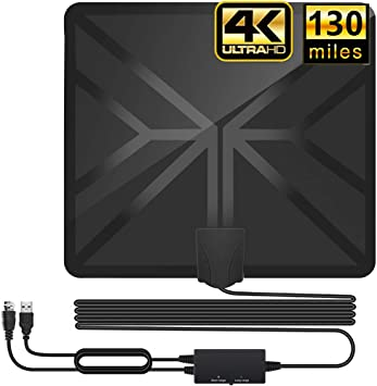 HDTV Antenna,130+ Miles Long Range Indoor Digital TV Antennas with 2019 Newest Switch Amplifier Signal Booster for Local Free Channels 4k HD 1080P ...
