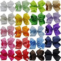 QingHan 6 inch Hair Bows For Girls Grosgrain Ribbon Large Boutique Bow Alligator Clips Teens Kids Pack Of 20