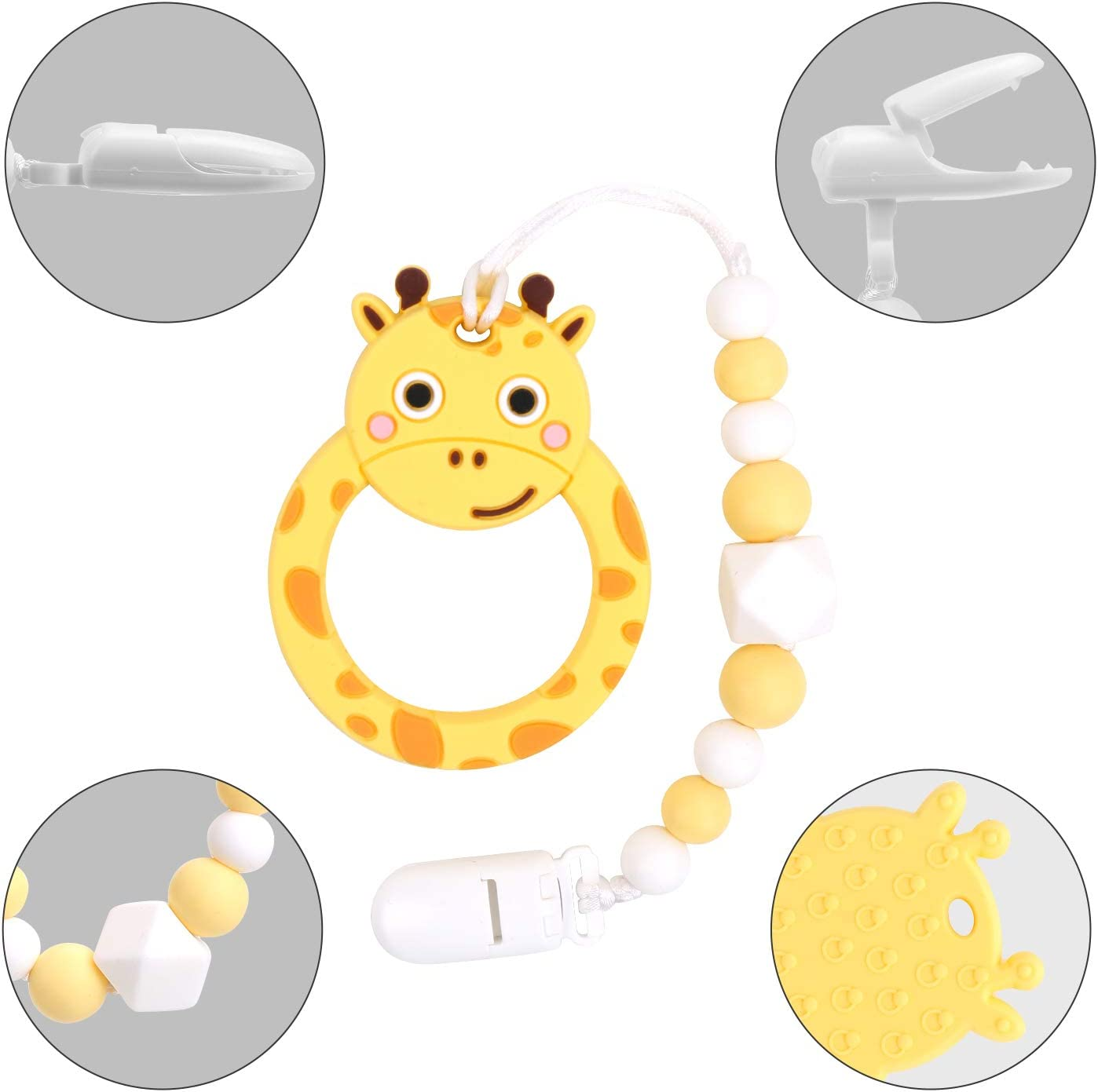 Giraffe-Yellow Flantor Baby Teether Silicone Teether Toy with Pacifier Clip Holder Set for Newborn Babies,Food Grade BPA Free Silicone Teether for Boy and Girl