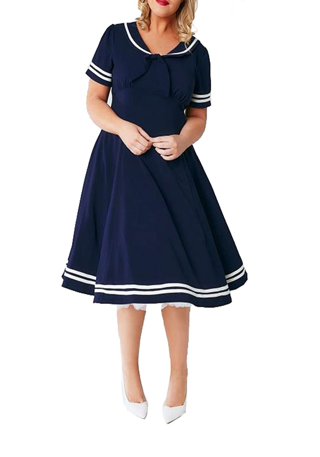 Sailor Dresses, Nautical Theme Dress, WW2 Dresses KISSMILK Womens Plus Navy Sailor Collar A Line Flare Ambeleside Dress $22.99 AT vintagedancer.com