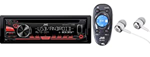 JVC KD-R480 Single DIN In-Dash CD AM/FM w/Android/iPod/iPhone, Front Auxiliary & USB Inputs Car Stereo Receiver, Remote Control and Detachable Faceplate / Free ALPHASONIK EARBUDS