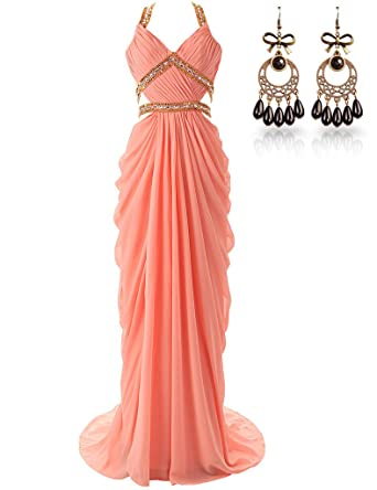 JAEDEN Open Back Beaded Straps Long Prom Dresses Chiffon Evening Gowns Coral UK24
