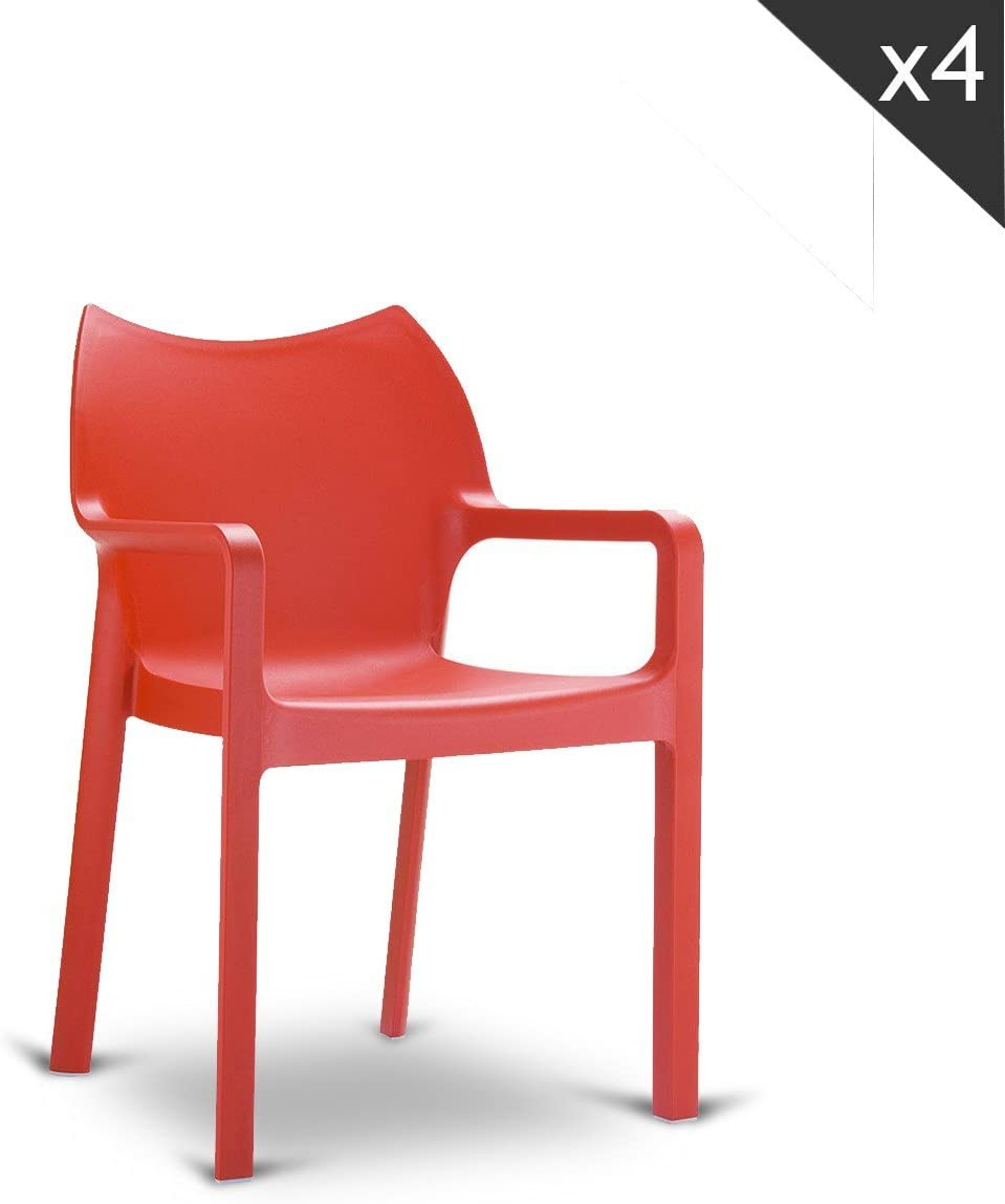 Compamia Diva Stacking Dining Arm Chair Set of 4 Finish Red