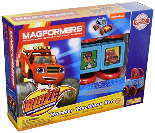Magformers Nickelodeon Blaze Monster Machines Set (35-Pieces) Magnetic    Building      Blocks, Educational  Magnetic    Tiles Kit , Magnetic    Construction  STEM Toy Set