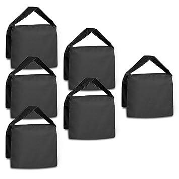 TFJ Bolsa de arena Paquete de 6 Bolsas de arena negra Fotografía de estudio Video Película de escenario Alforja para soportes de luz Boom Arms ...