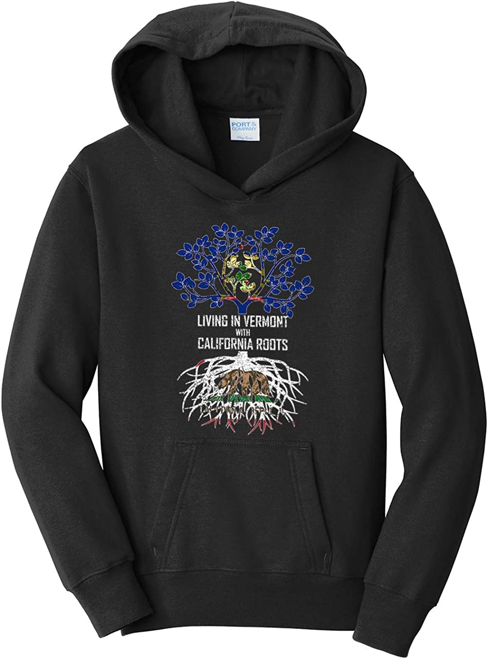 Tenacitee Girls Living in Vermont with California Roots Hooded Sweatshirt