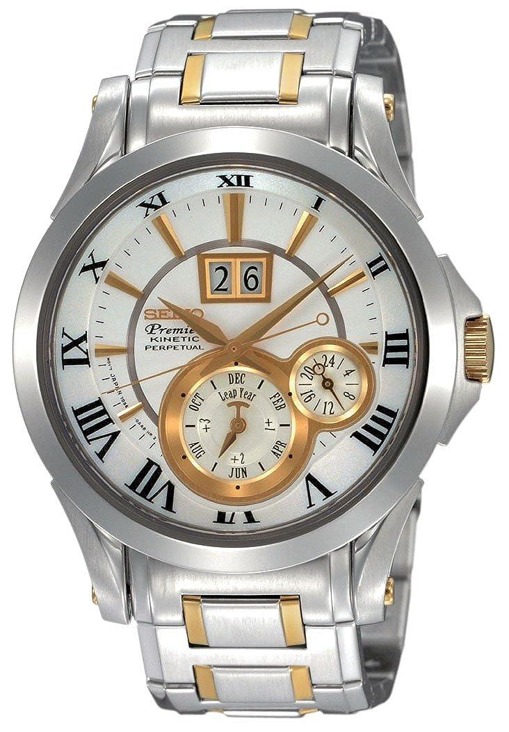 c2058f779 Amazon.com: Seiko SNP022P1 Men's Two Tone Stainless Steel Kinetic Premier  Perpetual Calendar White Dial Watch: Seiko: Watches