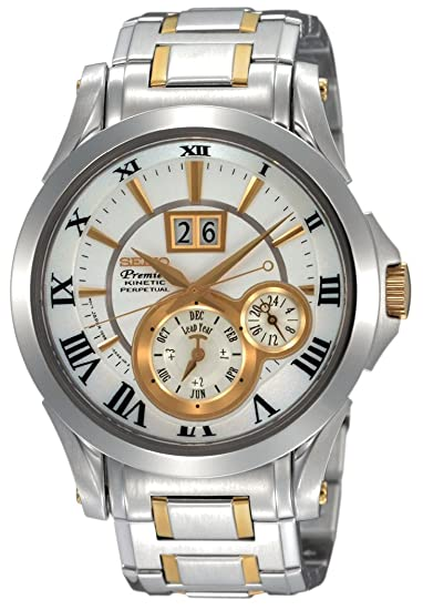 SEIKO Kinetic Perpetual SNP022P1 - Reloj de caballero de cuarzo, correa de acero inoxidable color plata: Amazon.es: Relojes
