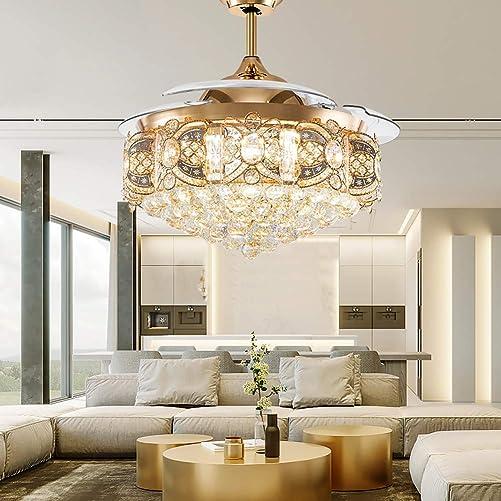 Orillon Elegant Crystal Chandelier Ceiling Fan Modern Luxure LED Lighting 42 Inch Polished Gold Quiet