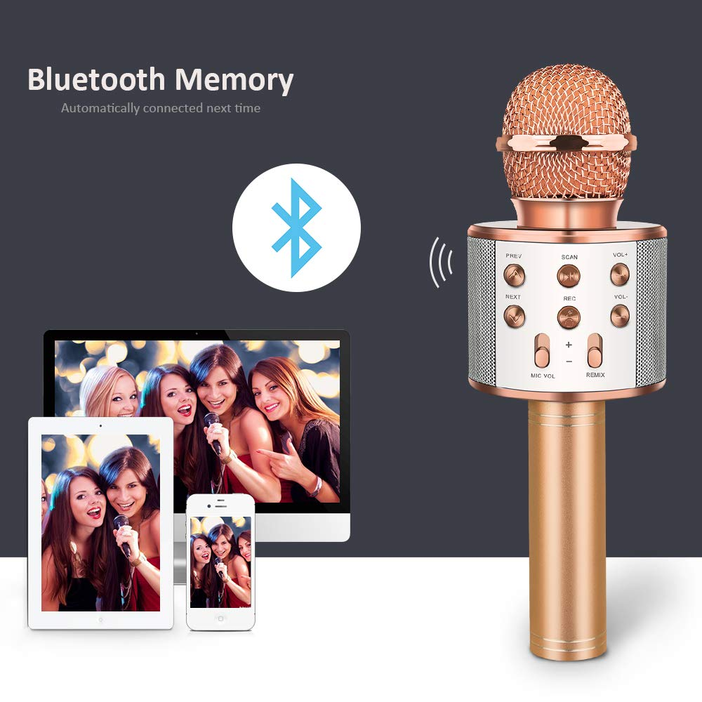 DEDY Awesome Toys for 5-12 Year Old Girls, Bluetooth Wireless Karaoke Microphone Birthday Fun Gifts for 5-12 Year Old Girls Boys Microphone Kids xiangbin DDMKF05 by DEDY (Image #3)